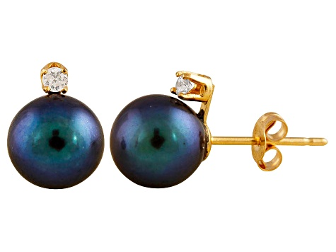 Pearl 7 14k Yellow Stud With Gold Freshwater Cultured Diamond Earrings 5mm Grwxicq0r