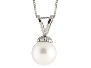 8-8.5mm White Cultured Freshwater Pearl 14k White Gold Pendant With Chain