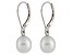 7-7.5mm White Cultured Freshwater Pearl Sterling Silver Leverback Earrings