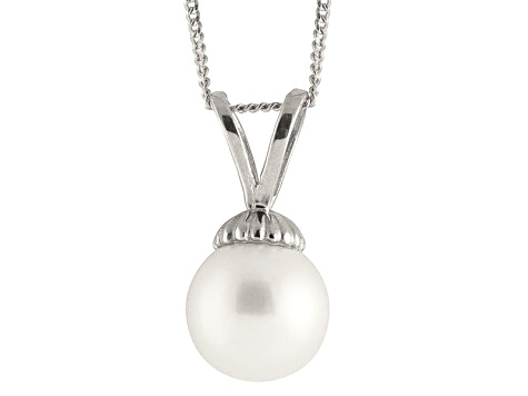 8-8.5mm White Cultured Japanese Akoya Pearl 14k White Gold Pendant With Chain