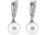 10-10.5mm White Cultured South Sea Pearl With Diamond 14k White Gold Earrings