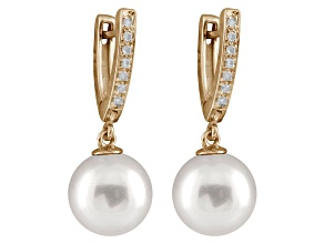 10-10.5mm White Cultured Australian South Sea Pearl Diamond 14k Yellow Gold Earrings