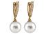 10-10.5mm White Cultured Australian South Sea Pearl Diamond 14k Yellow Gold Earrings
