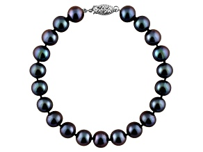 9-9.5mm Black Cultured Freshwater Pearl 14k White Gold Line Bracelet 8 inches
