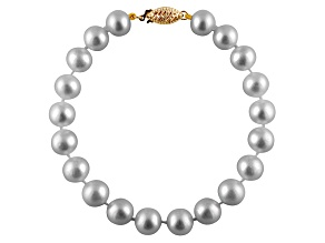 9-9.5mm Silver Cultured Freshwater Pearl 14k Yellow Gold Line Bracelet
