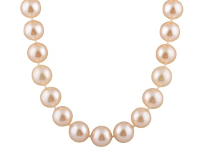 9-9.5mm Pink Cultured Freshwater Pearl 14k Yellow Gold Strand Necklace 18 inches