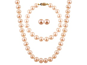 7-7.5mm Pink Cultured Freshwater Pearl 14k Yellow Gold Jewelry Set
