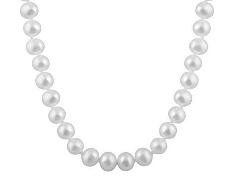 7-7.5mm White Cultured Freshwater Pearl 14k White Gold Strand Necklace 20 inches