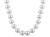 7-7.5mm White Cultured Freshwater Pearl 14k White Gold Strand Necklace 16 inches