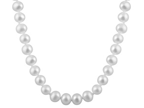 6-6.5mm White Cultured Freshwater Pearl 14k White Gold Strand Necklace 18 inches