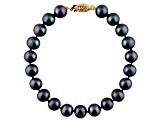11-11.5mm Black Cultured Freshwater Pearl 14k Yellow Gold Line Bracelet 8 inches