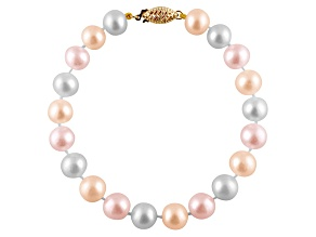 11-11.5mm Multi-Color Cultured Freshwater Pearl 14k Yellow Gold Line Bracelet