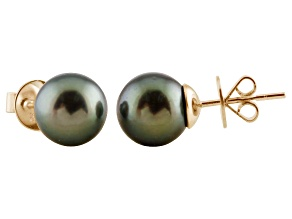 9-9.5mm Cultured Tahitian Pearl 14k Yellow Gold Stud Earrings
