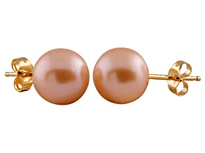 7-7.5mm Pink Cultured Freshwater Pearl 14k Yellow Gold Stud Earrings