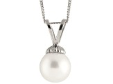 8-8.5mm White Cultured Japanese Akoya Pearl Sterling Silver Pendant With Chain