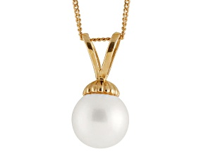 8-8.5mm White Cultured Japanese Akoya Pearl 14k Yellow Gold Pendant With Chain