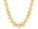 10-13mm Golden Cultured South Sea Pearl 14k Yellow Gold Strand Necklace