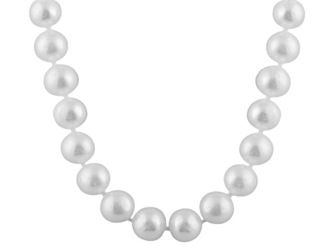 9-9.5mm White Cultured Freshwater Pearl Sterling Silver Strand Necklace
