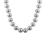 8-8.5mm Silver Cultured Freshwater Pearl 14k Yellow Gold Strand Necklace