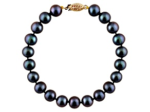 7-7.5mm Black Cultured Freshwater Pearl 14k Yellow Gold Line Bracelet 8 inches