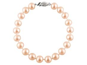 6-6.5mm Pink Cultured Freshwater Pearl Sterling Silver Line Bracelet