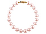 10-10.5mm Purple Cultured Freshwater Pearl 14k Yellow Gold Line Bracelet