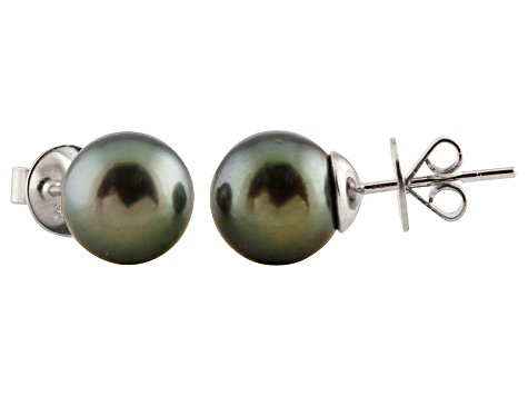 10-10.5mm Cultured Tahitian Pearl 14k White Gold Stud Earrings