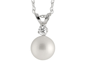 7-7.5mm Cultured Freshwater Pearl With Diamond 14k White Gold Pendant With Chain