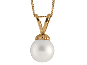 8-8.5mm White Cultured Freshwater Pearl 14k Yellow Gold Pendant With Chain