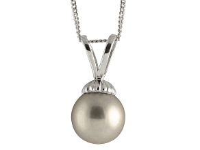 8-8.5mm Silver Cultured Freshwater Pearl 14k White Gold Pendant With Chain