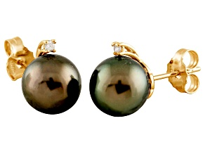 9-9.5mm Cultured Tahitian Pearl With Diamond 14k Yellow Gold Stud Earrings