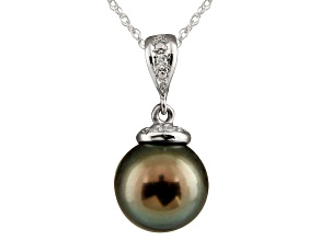 11-11.5mm Cultured Tahitian Pearl Diamond Sterling Silver Pendant With Chain