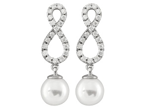 7-7.5mm White Cultured Japanese Akoya Pearl With Diamond 14k White Gold Earrings