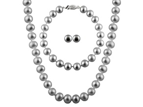 7-7.5mm Silver Cultured Freshwater Pearl Sterling Silver Jewelry Set