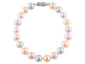 9-9.5mm Multi-Color Cultured Freshwater Pearl Sterling Silver Line Bracelet