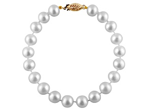 9-9.5mm White Cultured Freshwater Pearl 14k Yellow Gold Line Bracelet