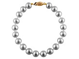 8-8.5mm Silver Cultured Freshwater Pearl 14k Yellow Gold Line Bracelet