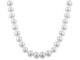 8-8.5mm White Cultured Freshwater Pearl 14k White Gold Strand Necklace 24 inches