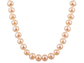 8-8.5mm Pink Cultured Freshwater Pearl 14k Yellow Gold Strand Necklace 18 inches