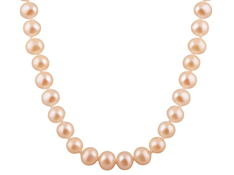 8-8.5mm Pink Cultured Freshwater Pearl Sterling Silver Strand Necklace 18 inches