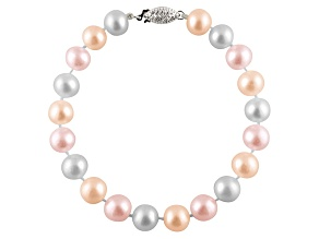 6-6.5mm Multi-Color Cultured Freshwater Pearl Sterling Silver Line Bracelet 7.25 inches