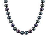 6-6.5mm Black Cultured Freshwater Pearl 14k White Gold Strand Necklace 28 inches
