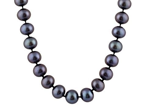 6-6.5mm Black Cultured Freshwater Pearl Sterling Silver Strand Necklace