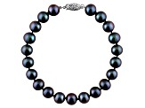 11-11.5mm Black Cultured Freshwater Pearl Sterling Silver Line Bracelet 8 inches