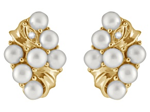 4-4.5mm White Cultured Freshwater Pearl With Diamond 14k Yellow Gold Earrings