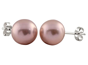 Picture of 7-7.5mm Purple Cultured Freshwater Pearl 14k White Gold Stud Earrings