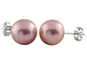 7-7.5mm Purple Cultured Freshwater Pearl 14k White Gold Stud Earrings