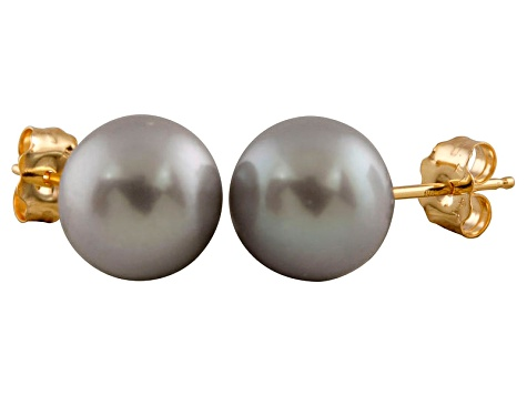 7-7.5mm Silver Cultured Freshwater Pearl 14k Yellow Gold Stud Earrings