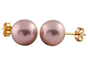 7-7.5mm Purple Cultured Freshwater Pearl 14k Yellow Gold Stud Earrings