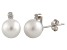 7-7.5mm Cultured Freshwater Pearl With Diamond 14k White Gold Stud Earrings